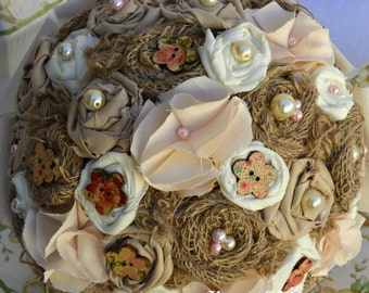 Rustic/country handmade fabric flower bridal bouquet with pearl bead and floral printed flower buttons