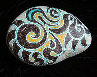 Dot painting stone SYDNEY of lovingly hand-painted River pebbles weatherproof and UV-resistant, 24 cm diameter