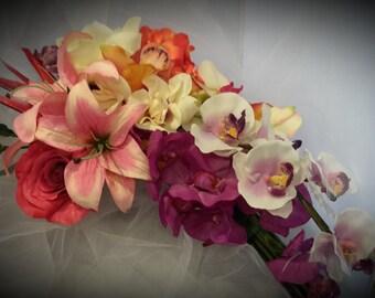 "Tropical Bouquet,  Cascade Cascading Bouquet, Destination Wedding Bouquet, Colorful Bouquet,   "" Tropical Treasures"""