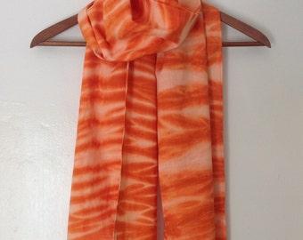 Orange Arashi Shibori Scarf