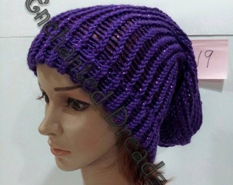 Sparkling Purple and Sparkling Red Slouchie Hats