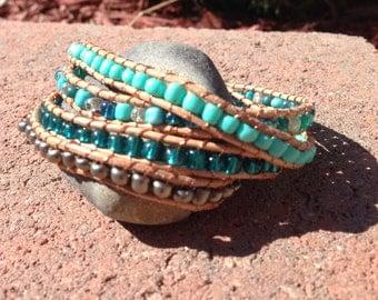 Aqua/turquoise/grey Genuine leather wrap 4x bracelet with 4mm beads.