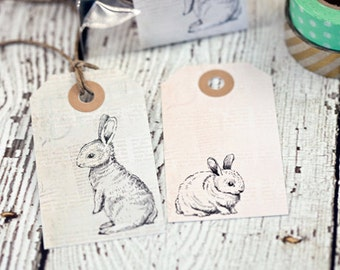 Set of 8 vintage rabbit tags, gift tags, paper goods, vintage tags, rabbits, vintage, paper supplies, bunny tags, vintage bunnies, spring