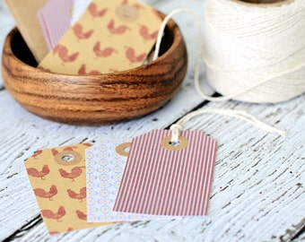 Country kitchen tags, Set of 12, chicken, country, kitchen, cardstock tags, colored tags, gift tags, paper goods