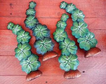 Hand Painted Ceramic Shamrock, Four-Leaf Clover Decoration/Statue
