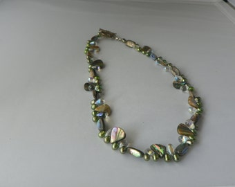 Gem Stone Abalpone Pearls and Glass Necklace