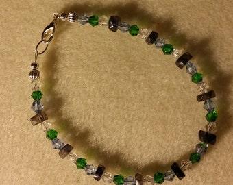 Iolite and swarovski crystals bracelet