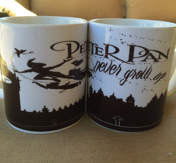 peter pan flying never grow up silhouette 11oz coffee cup