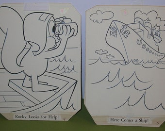Vintage pair of Whitman Coloring Pages, Featuring Jay Ward's Rocky Squirrel