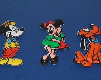 1960s Walt Disney Productions Mickey and Minnie Mouse and Pluto Puffy Figures