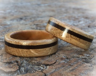 Wooden Wedding Rings Handcrafted From Scottish Oak, Cherry & Walnut