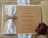 Dalton: Horizontal Rustic Country Shabby Chic Burlap and Lace Wedding Invitation SUITE 5x7 Kraft cardstock Twine fall wedding invitations