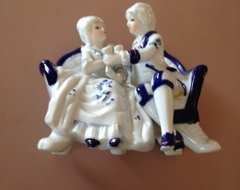 Vintage Ceramic Victorian Couple on Couch
