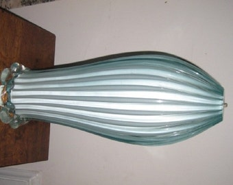 Vintage Venetian/ Murano Hand blown Pale Blue Ribbed Art Glass table lamp.