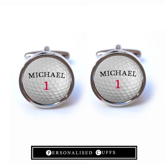 Golf cufflinks custom golf ball cufflinks by personalisedcuffs for Golf buflings