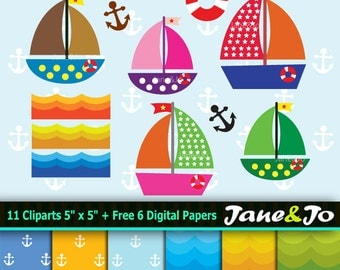 50% OFF SALE Sailboat Clipart ,Commercial Cliparts,Ship Clipart, Sailboat & Ship pattern digital papers, Ship backgrounds  Instant Download