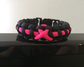 Breast Cancer Awareness 550 Paracord Survival Bracelet - Black with Pink BCA Ribbon