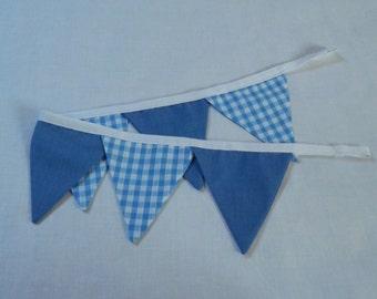 Blue and blue gingham nursery tie-backs, bunting tie-backs, handmade
