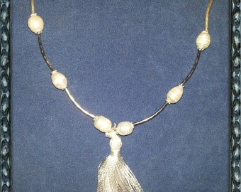 Natural Pearls  and Tassel necklace.