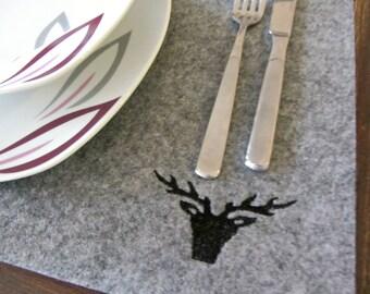 4 x Placemat Felt placemat * * Deer gray black