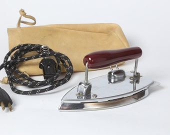 Gorgie Vintage Folding Mini Travel Iron with Wooden Handle, Cord and Leather Carrying Pouch