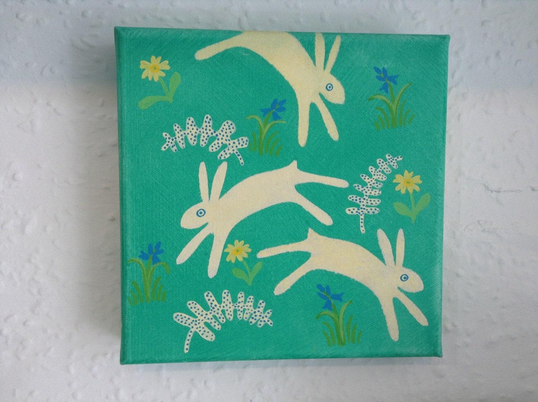 Spring acrylic nursery art canvas painting of rabbits spring for Spring canvas paintings