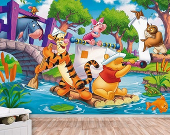 Winnie the pooh wall decal etsy for Classic winnie the pooh wall mural