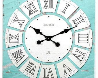 Aqua Home Decor - Beach decor - Beach house decor - AQUA Wall Clock - 24x24 Inches - Canvas Wall Clock - Aqua Wall clock - Beach Wall Clock
