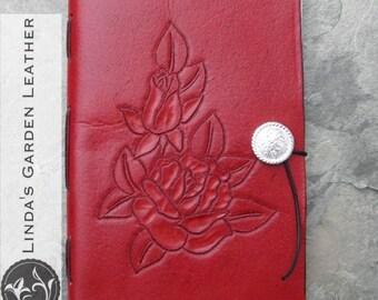 Handmade Leather Roses Journal or Sketchbook