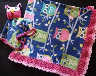 Crochet edged Fleece Blanket & Lovey