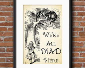 Alice in Wonderland Print - Wall Art Print Gifts - Party Decorations - Party Supplies - Centerpiece Party Favors - Props - 0104