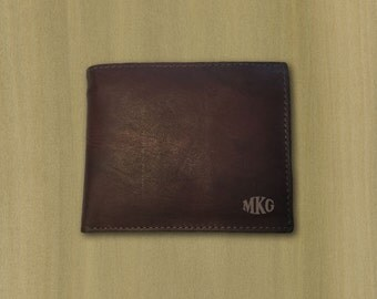 Custom Personalized Laser Engraved Genuine Leather Monogram Wallet