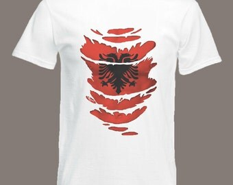 Albania Flag T-Shirt  see Muscles through Ripped T-Shirt Albanian in all sizes