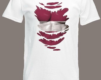 Latvian Flag T-SHIRT See Muscles through Ripped T-Shirt Latvia in all sizes