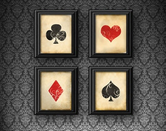Set of 4 Vintage Playing Card Deck Suits 5 x 7 or 8 x 10 PHYSICAL Wall Art Poker Hearts Diamonds Spades Clubs Red Black Print Prints