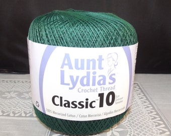 Crochet Cotton Thread, Aunt Lydia Classic Size 10 Forest Green