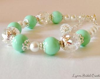Mint Green Pearl Bracelet Crystal Bracelet Mint Green Jewelry Bridesmaid Gift Green Wedding Jewelry Wedding Set Rainbow Crystal Bracelet