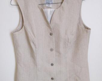 Vintage Australian Made Cream Cotton Linen Vest - size AU12