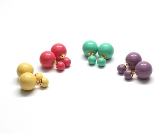 Colorful Double Sided Stud Earrings