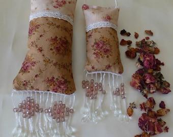 Lavender sachet and rosebuds sachet, set of 2