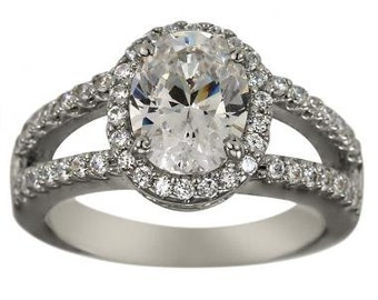 Oval Engagement Ring Halo Engagement Ring With 1.25ct Oval Diamond In 14K Gold