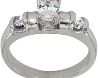 Diamond Engagement Ring Oval Diamond 0.75ct In 14k White Gold With Diamonds