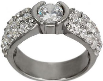 Engagement Ring Pave Diamond 1.20ct Diamond In 14K Gold Pave Engagement Ring