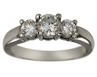 Classic Three Stone One Ct Diamond Engagement Ring