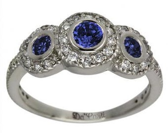 Sapphire Rings Blue Sapphire 3 Stone Ring In 14K White Gold Diamond Ring