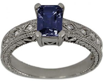 Blue Sapphire Ring Emerald Cut Vintage Ring Blue Sapphire Rings 14K White Gold