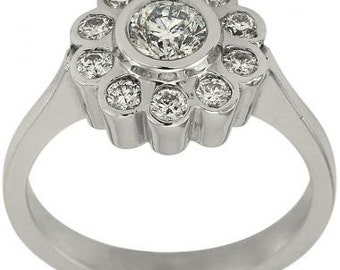 Halo Ring In 14k White Gold With Diamond Accents In A Flower Ring Design