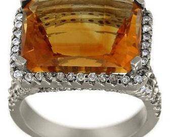 Citrine Ring Emerald Cut Halo Ring Citrine And Diamonds In 14K Diamond Gold Ring