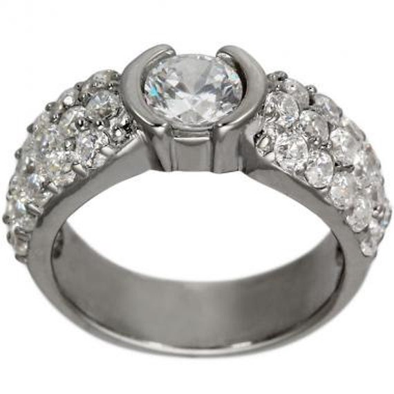 wide pave bezel set engagement ring setting by dacarli