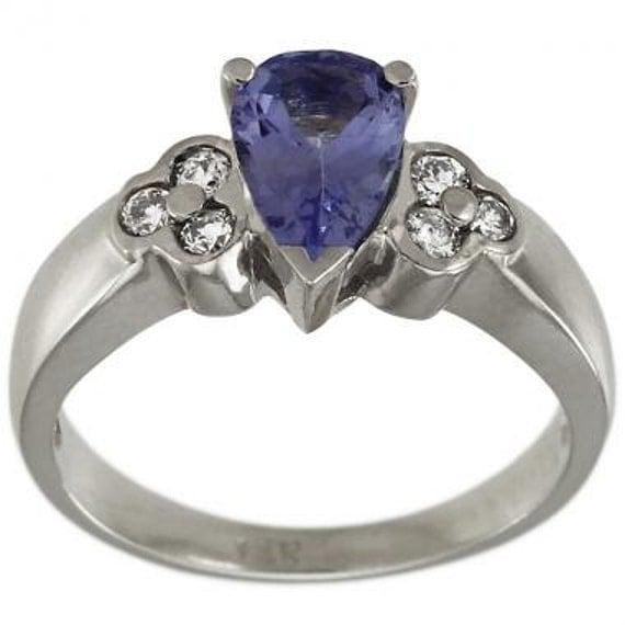 Teardrop Tanzanite: Tanzanite Ring With Tear Drop Tanzanite 14K White Gold Diamond